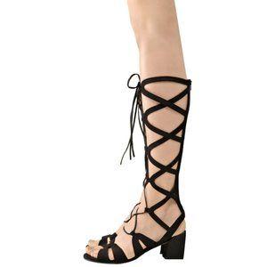 STUART WEITZMAN Black Nappa GLADIATOR Sandals NWOB